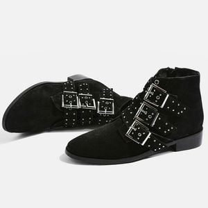 Topshop Suede Buckle Silver Studded Booties Boots
